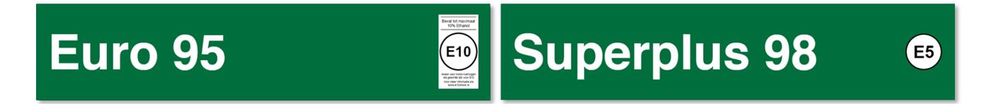 Euro 95 (E10) en Superplus 98 (E5)